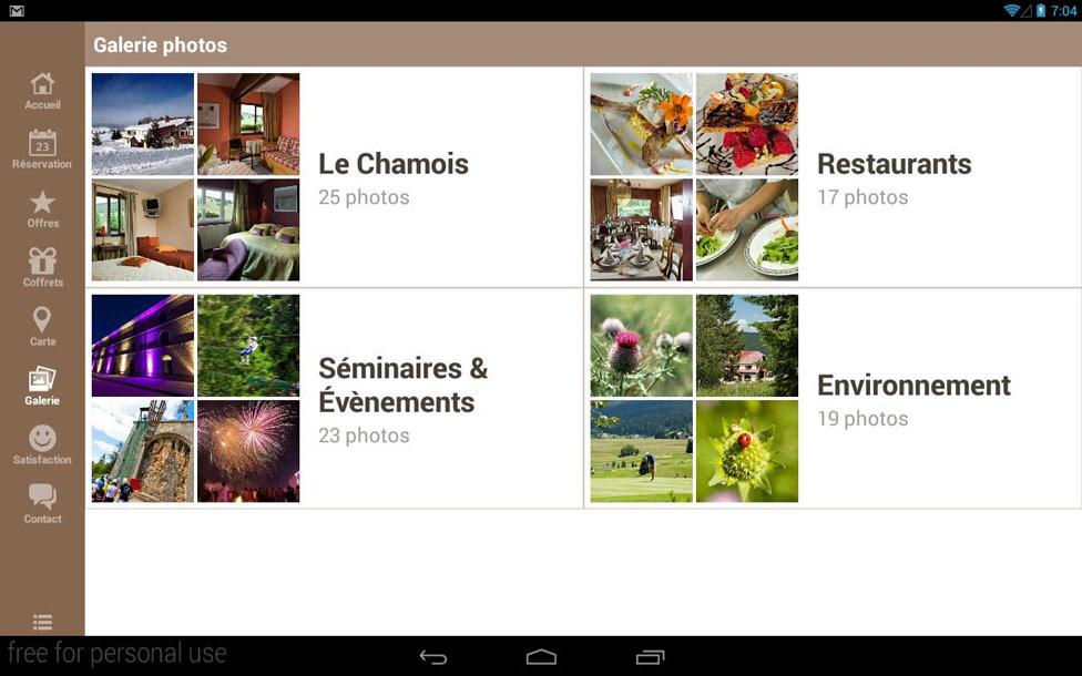 Application tablette tactile pour Le Chamois