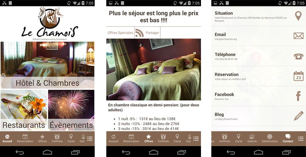 Application Smartphone pour Le Chamois